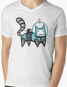 Astro Cat Mens V-Neck T-Shirt
