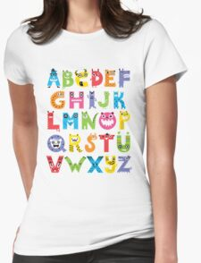 Alphabet Monsters Womens Fitted T-Shirt