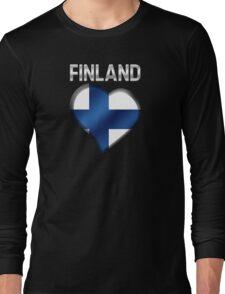 Finland - Finnish Flag Heart & Text - Metallic Long Sleeve T-Shirt