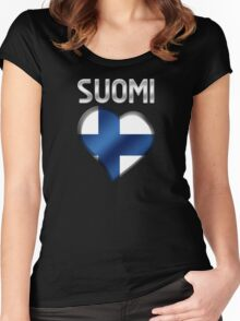 Suomi - Finnish Flag Heart & Text - Metallic Women's Fitted Scoop T-Shirt