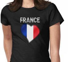 France - French Flag Heart & Text - Metallic Womens Fitted T-Shirt
