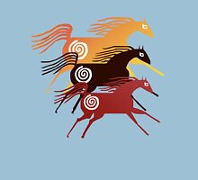 Three Ancient Horses Womens Fitted T-Shirt