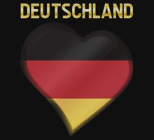 Deutschland - German Flag Heart & Text - Metallic Kids Tee