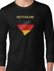 Deutschland - German Flag Heart & Text - Metallic Long Sleeve T-Shirt