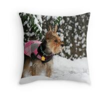 Dog in the Snow Throw Pillow