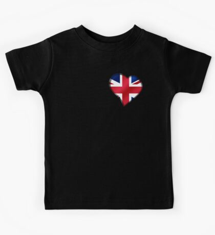 British Union Jack Flag - United Kingdom UK - Heart Kids Tee