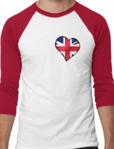 British Union Jack Flag - United Kingdom UK - Heart Men's Baseball ¾ T-Shirt