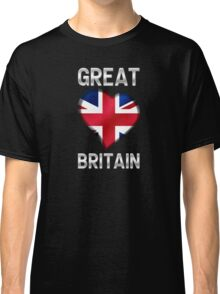 Great Britain - British Flag Heart & Text - Metallic Classic T-Shirt
