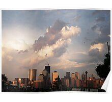 Lower Manhattan, World Trade Center, View from New Jersey Poster