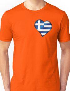 Greek Flag - Greece - Heart Unisex T-Shirt