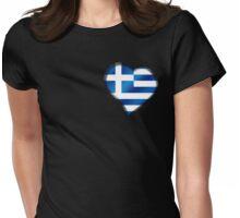 Greek Flag - Greece - Heart Womens Fitted T-Shirt