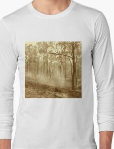 Bushfire at sunset in sepia tone Long Sleeve T-Shirt