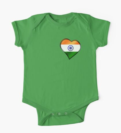 Indian Flag - India - Heart One Piece - Short Sleeve