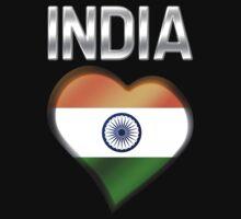 India - Indian Flag Heart & Text - Metallic Kids Tee