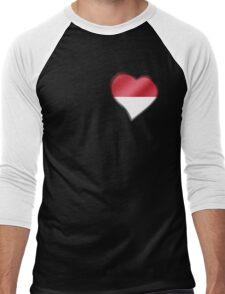 Indonesian Flag - Indonesia - Heart Men's Baseball ¾ T-Shirt