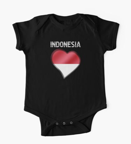 Indonesia - Indonesian Flag Heart & Text - Metallic One Piece - Short Sleeve