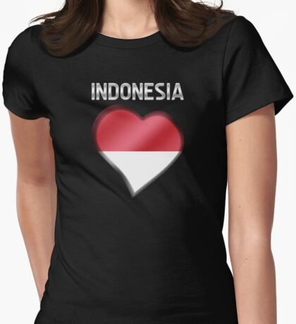 Indonesia - Indonesian Flag Heart & Text - Metallic Womens Fitted T-Shirt