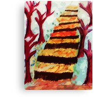 stairway thru the woods, watercolor Canvas Print