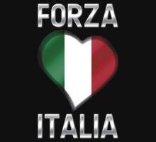 Forza Italia - Italian Flag Heart & Text - Metallic by graphix