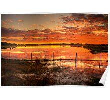 A gorgeous sunset at Rivoli Wetlands, near Beachport Poster