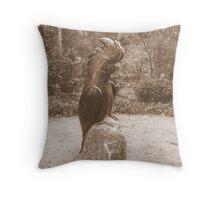 black cockatoo scultpure Throw Pillow