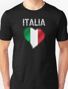 Italia - Italian Flag Heart & Text - Metallic Unisex T-Shirt