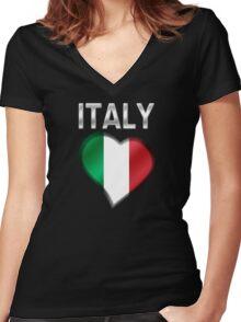 Italy - Italian Flag Heart & Text - Metallic Women's Fitted V-Neck T-Shirt