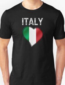 Italy - Italian Flag Heart & Text - Metallic Unisex T-Shirt