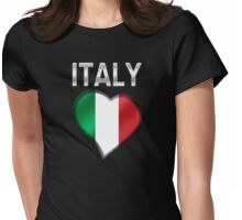 Italy - Italian Flag Heart & Text - Metallic Womens Fitted T-Shirt