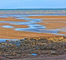 Rocks on beach at low tide by hereswendy