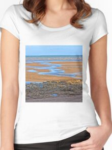 Rocks on beach at low tide Women's Fitted Scoop T-Shirt