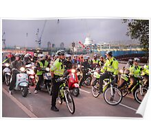 London Traffic Police Cyclists Poster
