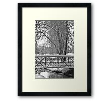 Snowy Walking Bridge in Black and White Framed Print