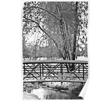 Snowy Walking Bridge in Black and White Poster