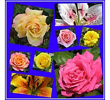 Roses and Lilies Collage Photographic Print