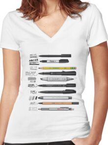 Pen Collection For Sketching And Drawing Women's Fitted V-Neck T-Shirt