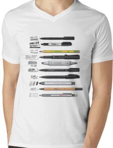 Pen Collection For Sketching And Drawing Mens V-Neck T-Shirt