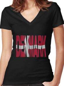 Danish flag Women's Fitted V-Neck T-Shirt