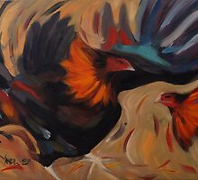 Clash - Rooster Painting by Khairzul MG