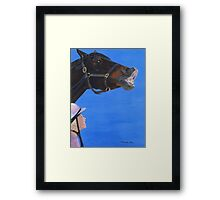 Funny Face - Horse making funny face Framed Print