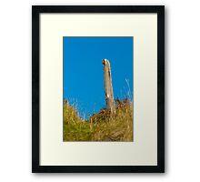 Landscape, Fence post, Desiccated, Sand Dunes, Blue sky Framed Print