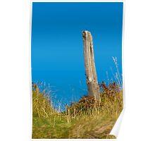 Landscape, Fence post, Desiccated, Sand Dunes, Blue sky Poster
