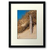 Landscape, Fence Posts, Desiccated, Sand dunes, Framed Print