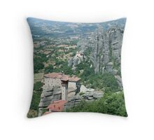 Suspended in the air monasteries in Meteora Mountains - Greece Throw Pillow