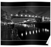 River Tyne Night Shot, Newcastle Upon Tyne Poster