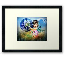 Little Girl saving the world Framed Print