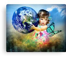 Little Girl saving the world Canvas Print