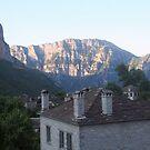 Houses under the Timfis mountains in Papigo, Zagoria Greece by Ilan Cohen