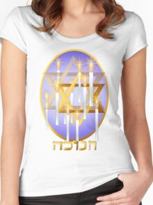 Nine White Candles and Star (lettered) Women's Fitted Scoop T-Shirt