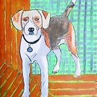 Folk art hound dog by Lorraine Stylianou